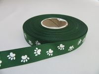 Dark Emerald Green  / White Paw Print  Satin or Grosgrain Ribbon, 2, 20 25 metres, Double sided 15mm